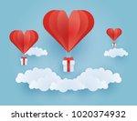 origami made hot air balloon...   Shutterstock .eps vector #1020374932