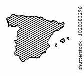 spain map outline graphic... | Shutterstock .eps vector #1020383296