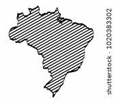 brazil map outline graphic... | Shutterstock .eps vector #1020383302