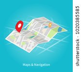 maps   navigation isometric... | Shutterstock .eps vector #1020385585