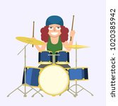 girl playing drums   funny... | Shutterstock .eps vector #1020385942