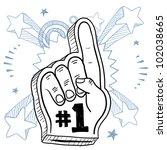 doodle style foam finger used... | Shutterstock .eps vector #102038665