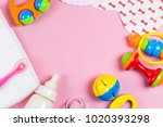 baby accessories. wooden toys ... | Shutterstock . vector #1020393298