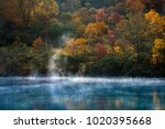 autumn forest onsen lake at... | Shutterstock . vector #1020395668