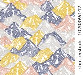 mountains seamless pattern. fun ... | Shutterstock .eps vector #1020396142