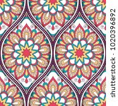 seamless pattern with ethnic... | Shutterstock .eps vector #1020396892