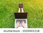 young woman using laptop in... | Shutterstock . vector #1020401218
