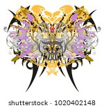 grunge butterfly wings with...   Shutterstock .eps vector #1020402148