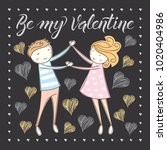 vector couple fall in love.... | Shutterstock .eps vector #1020404986