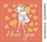 vector couple fall in love.... | Shutterstock .eps vector #1020404992