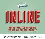 """Inline"" Vintage 3D Condensed Alphabet. Old School Retro Typography. Vector Illustration. | Shutterstock vector #1020409186"