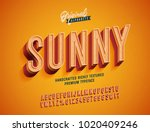 """Sunny"" Vintage 3d Premium Rich Textured Alphabet. Super Detailed Retro Typeace with Good Summner Vibes. Vector Illustration. Slanted Version. 