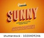 """sunny"" vintage 3d premium rich ... | Shutterstock .eps vector #1020409246"