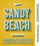 """sandy beach"" vintage 3d... | Shutterstock .eps vector #1020409252"