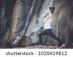 woman yoga   relax in waterfall ... | Shutterstock . vector #1020419812