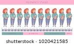 sweet pregnant ginger woman.... | Shutterstock .eps vector #1020421585