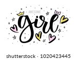 it's a girl hand drawn design... | Shutterstock .eps vector #1020423445