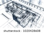 house architecture 3d... | Shutterstock . vector #1020428608