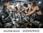 group of fitness people doing... | Shutterstock . vector #1020429652