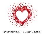 pomegranate seeds in heart... | Shutterstock . vector #1020435256