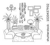 hand drawn living room for... | Shutterstock .eps vector #1020437932