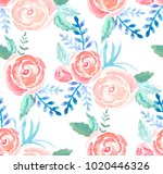 watercolor roses seamless... | Shutterstock .eps vector #1020446326