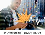 cropped view young hipster guy... | Shutterstock . vector #1020448705
