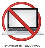 Vector Laptop with Stop Sign Isolated on White Background. Vector EPS 10. - stock vector
