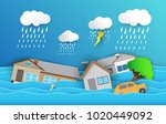 city   flood flooding water in... | Shutterstock .eps vector #1020449092