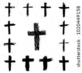 grunge hand drawn cross symbols ... | Shutterstock . vector #1020449158