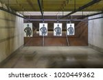 indoor firearm shooting range... | Shutterstock . vector #1020449362
