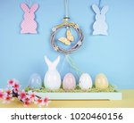 easter composition with painted ...   Shutterstock . vector #1020460156