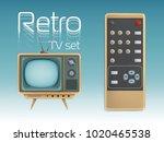 Retro Tv Set And Remote Control ...