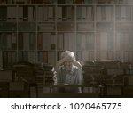 overloaded stressed senior... | Shutterstock . vector #1020465775
