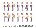 carries boxes  gets a job ... | Shutterstock .eps vector #1020473242