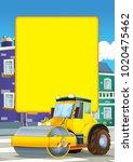 cartoon scene with road roller... | Shutterstock . vector #1020475462