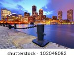Boston harbor and Financial District - stock photo