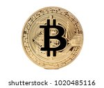 gold coin bitcoin isolated on... | Shutterstock . vector #1020485116