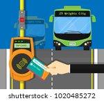 card ticket validation scanning ... | Shutterstock .eps vector #1020485272