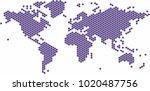 violet circle shape world map... | Shutterstock .eps vector #1020487756