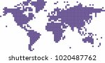 violet square shape world map... | Shutterstock .eps vector #1020487762