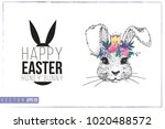 easter greeting card with silly ... | Shutterstock .eps vector #1020488572