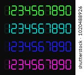 a set of glowing digital... | Shutterstock .eps vector #1020488926