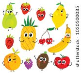 cartoon funny fruits characters ... | Shutterstock .eps vector #1020500035