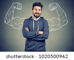 young hipster man in hoodie... | Shutterstock . vector #1020500962
