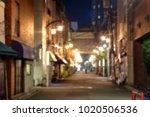 blurred scene of alleyway with... | Shutterstock . vector #1020506536