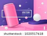 vector 3d realistic corner wall ... | Shutterstock .eps vector #1020517618