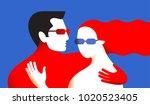 couple in love. two hugging... | Shutterstock .eps vector #1020523405