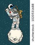 astronaut saxophonist plays... | Shutterstock .eps vector #1020531688