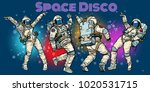 Stock vector disco party astronauts dancing men and women pop art retro comic book vector cartoon hand drawn 1020531715